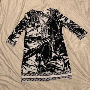 BCBG Black and White V-neck Dress